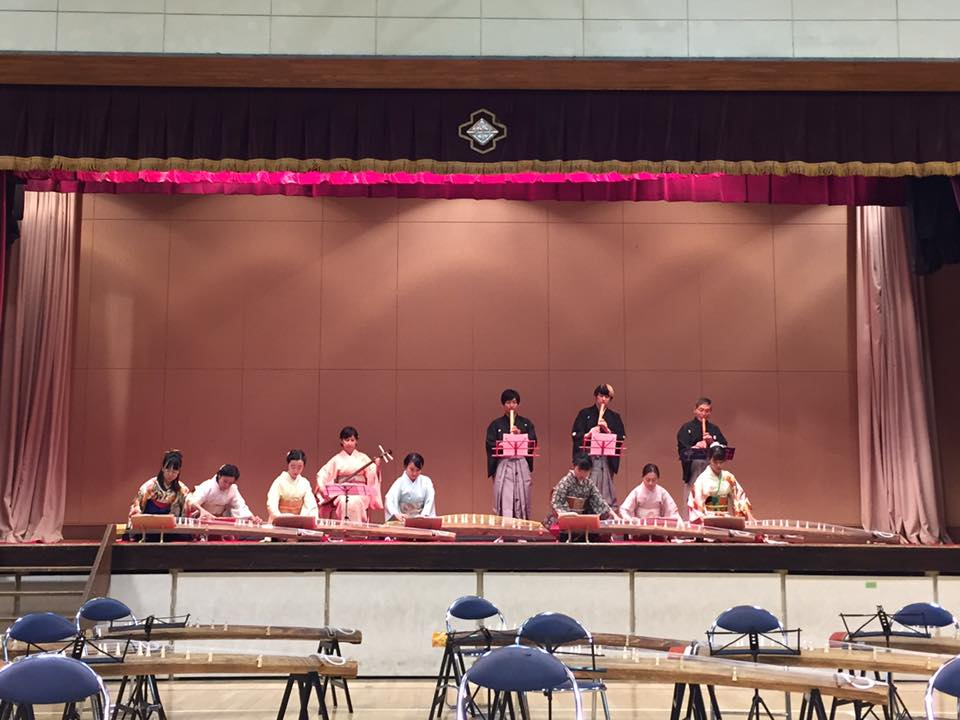 尾山台中学校 邦楽の夕べの様子